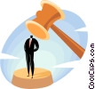 Vector Clip Art graphic  of a businessman with a gavel