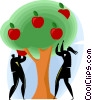 Businessman and woman picking apples Vector Clipart illustration