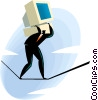 Vector Clip Art graphic  of a walking on tightrope with a computer