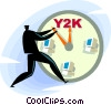 businessman solving y2k problem Vector Clipart picture