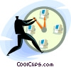 Vector Clipart graphic  of a businessman changing time on