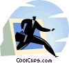 businessman coming out of a computer Vector Clipart picture