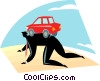 businessman with a car on his back Vector Clip Art graphic