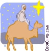 Vector Clipart graphic  of a man riding a camel
