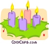 advent candles in a wreath Vector Clipart graphic