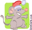 Vector Clipart illustration  of a mouse with a Christmas hat on