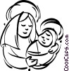 Vector Clipart graphic  of a mother Mary with baby Jesus