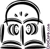 Vector Clip Art image  of a book and headphones
