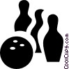 bowling ball with pin Vector Clipart illustration