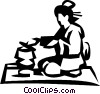 Japanese woman Vector Clipart graphic