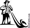 Vector Clip Art image  of an Alpenhorn player
