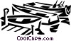 Vector Clip Art graphic  of a small fishing boats