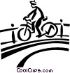 person riding a bike over a bridge Vector Clipart image