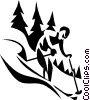 Vector Clipart picture  of a downhill skier