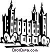 Vector Clipart image  of a Mormon Temple