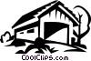 Vector Clip Art image  of a covered bridge