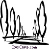Vector Clipart picture  of a tall trees lining the walk way