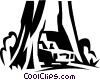 Vector Clip Art graphic  of a car traveling through a tree