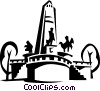 Vector Clip Art graphic  of a Statues and a monument