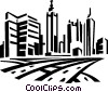 Vector Clip Art graphic  of a roadways and city skyline