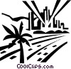 roadways and city skyline Vector Clip Art graphic