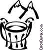Vector Clip Art graphic  of a mountains with a bucket