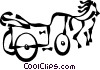 Vector Clipart graphic  of a horse with carriage