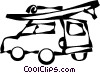 Vector Clipart graphic  of a vehicle with a wind surfer on