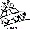 vehicle with a bicycle on the roof Vector Clipart illustration