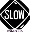 road sign, slow Vector Clipart illustration