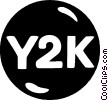 Vector Clipart graphic  of a Y2K button