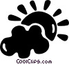 Vector Clip Art graphic  of a clouds with sunshine