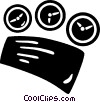 Vector Clip Art graphic  of a dashboard gauges