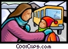 Mother putting a child on the bus Vector Clip Art image
