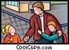 children at school Vector Clip Art graphic