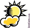 Vector Clipart illustration  of a clouds with sunshine