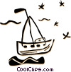 Vector Clip Art image  of a sailboats