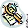 Vector Clipart graphic  of a Magnifying glass and document