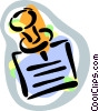 Message and thumb tack Vector Clip Art picture