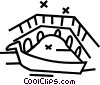 Vector Clip Art graphic  of a boat sailing under a bridge