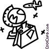 airplane, globe and suitcase Vector Clipart picture