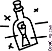 Vector Clipart illustration  of a message in a bottle