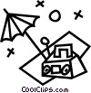 Vector Clipart illustration  of a radio and a umbrella at the