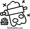 Vector Clipart illustration  of a rolling pin and cookie cutter
