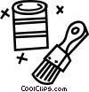 Vector Clip Art image  of a paint can with brushes
