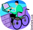 Vector Clip Art graphic  of a man in a wheelchair working on