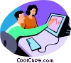 businessman working at the computer Vector Clipart graphic