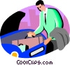 Vector Clip Art graphic  of a man putting suitcase in the trunk