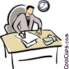 Vector Clip Art image  of a office worker doing paper work