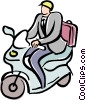 Vector Clip Art image  of a businessman on a motor scooter